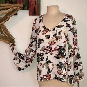 Rose + Olive BoHo Botanical floral Poet Blouse Top